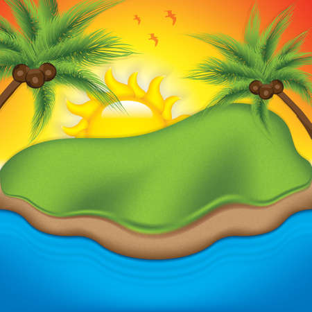 Tropical island with palm trees. Vector illustration.