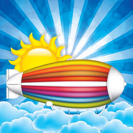 blimp: Airship in the sky background.Vector illustration of cartoon zeppelin in rainbow colors