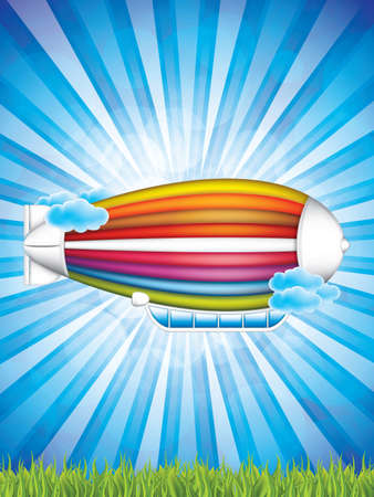 Airship in the sky background.Vector illustration of cartoon zeppelin in rainbow colors