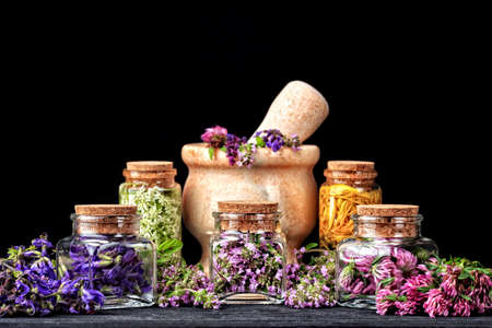 trifolium: Set of healing herbs.Fresh thyme, sage and red clover herb in bottle. Alternative medicine concept on wooden table over black background(selective focus). Stock Photo