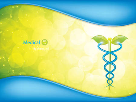 entwined: Herbal caduceus.Alternative medication concept vector. Illustration