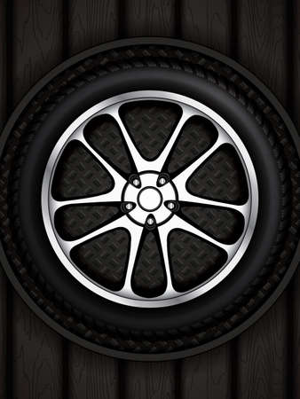 retreading: Realistic car wheel with shining rim.Vector illustration  Illustration