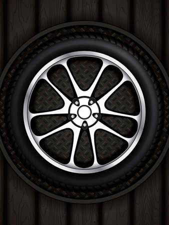 Realistic car wheel with shining rim.Vector illustration  Illustration