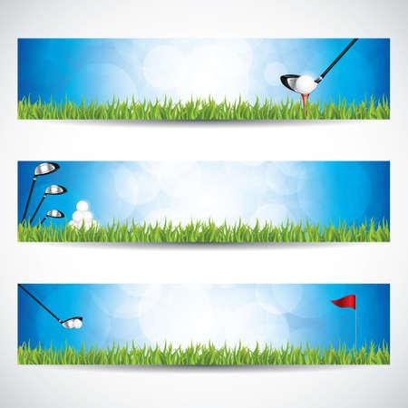 クラブとボールをゴルフのバナーのベクトル イラスト。
