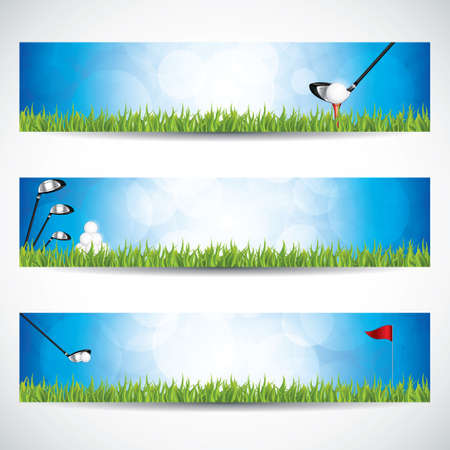 Vector illustration of golf banners with club and ball.