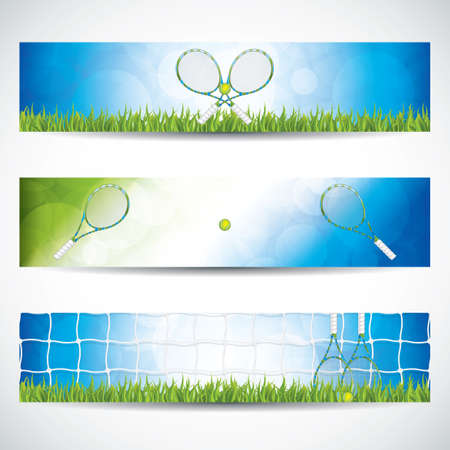 Vector illustration of tennis banners with racket and ball.