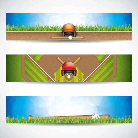 outfield: Vector illustration of baseball banners with wooden bats and ball