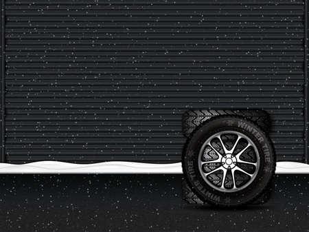 Vectorillustratie van winterbanden voor garagedeur.