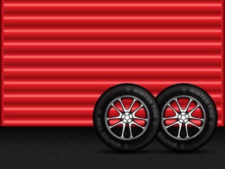Vector illustration of winter tires in front of garage door.