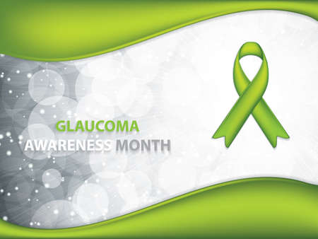 Glaucoma Awareness Month brochure.Green Ribbon symbol.Vector illustration Ilustracja