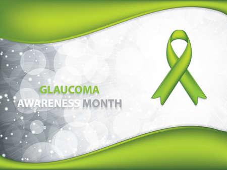 Glaucoma Awareness Month brochure.Green Ribbon symbol.Vector illustration Illustration