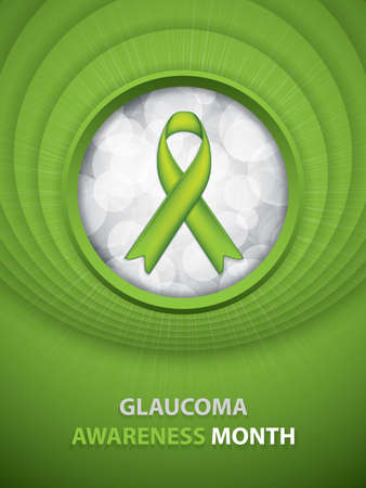 Glaucoma Awareness Month brochure.Green Ribbon symbol.Vector illustration Illustration