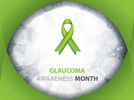 Glaucoma Awareness Month brochure.Green Ribbon symbol.Vector illustration Ilustracja