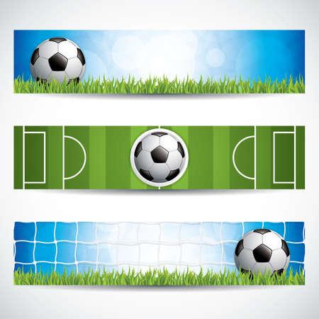 Set of soccer (football) banners.Vector illustration. Çizim