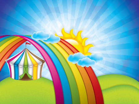 Spring concept with striped circus tent under the rainbow. Vector illustration.