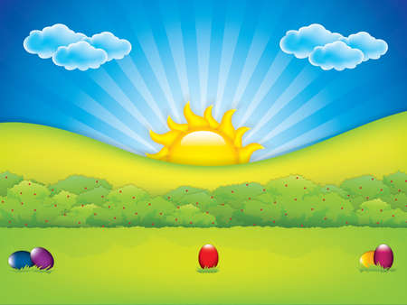 Easter eggs in the meadow - holiday background.Vector illustration.