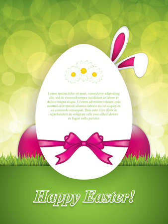 Easter greeting card with rabbit ears and pink eggs.Holiday vector illustration