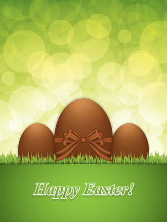 Easter greeting card with chocolate eggs.Holiday vector illustration