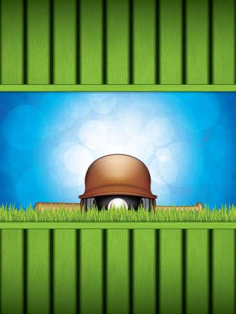 Vector illustration of baseball helmet, wooden bats and ball