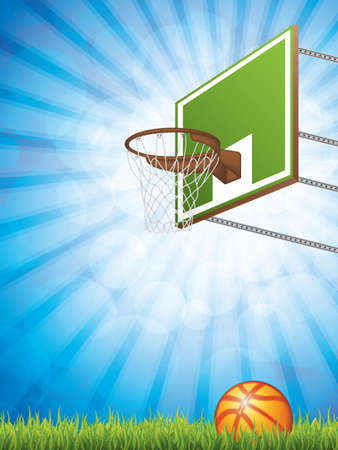 Vector illustration of basketball concept with hoop and ball. Illustration