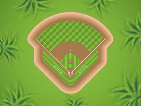 A vector illustration of a baseball field at park, top view