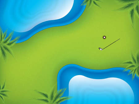 Vector illustration golf course, top view.Two lakes on the golf course to complicate the game.