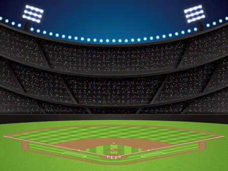 Vector illustration of a baseball stadium