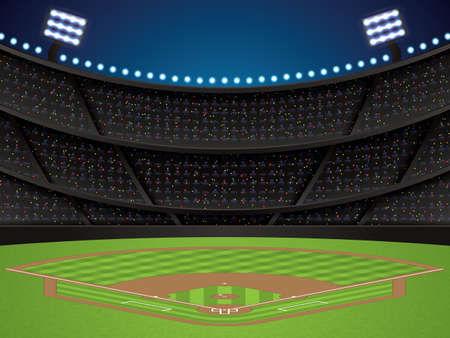 Vector illustration of a baseball stadium