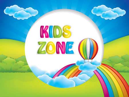 Kids zone background with hot air balloon and rainbow Illustration