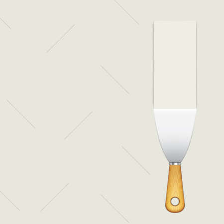 Putty knife, vector illustration.Application of the plaster on the wall Иллюстрация