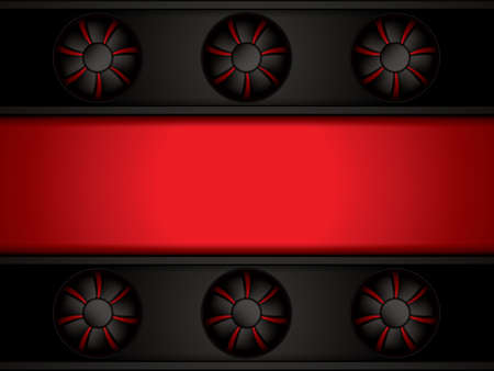 Abstract red background with ventilators, vector illustration