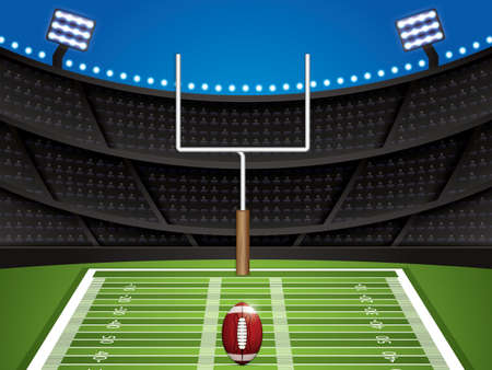 American football stadium with detailed ball and goalpost.Vector illustration