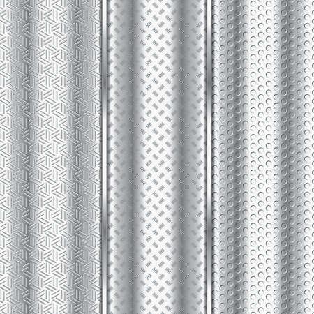 Metal textured backgrounds, metallic banners, vector illustration