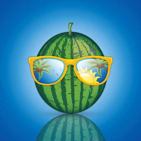 Watermelon with sunglasses, vector illustration