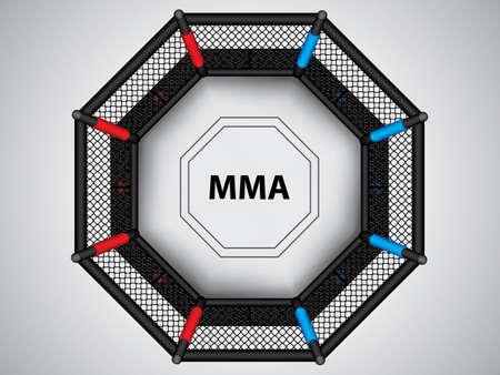Illustrazione vettoriale della gabbia MMA Gabbia ottagonale di arti marziali miste, vista dall'alto