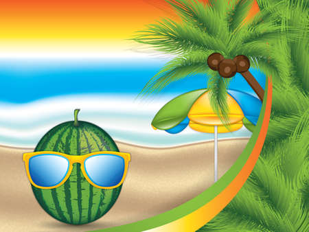 Watermelon with sunglasses concept summer tropical background, vector illustration