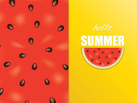 Vector illustration of watermelon, minimal summer concept background