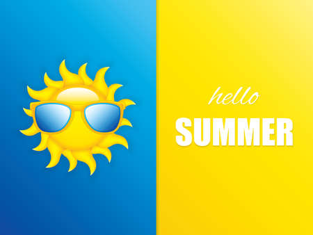 Vector illustration of sunglasses, minimal summer concept background Stock Illustratie