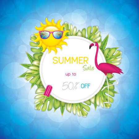 Summer background with sunglasses, flamingo, sun, tropical plants and ice cream, realistic vector illustration