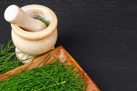 Equisetum (horsetail) herb in mortar. Alternative medicine concept on black wooden table (selective focus).