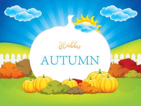 Autumn frame with pumpkins.Thanksgiving concept.Vector illustration.