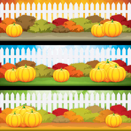 Autumn banners with pumpkins, vector illustration