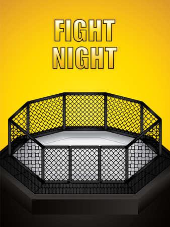 Ilustración de vector de jaula de MMA Jaula de octágono de artes marciales mixtas Ilustración de vector