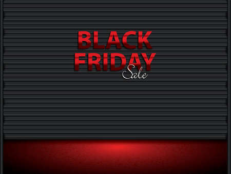 Black Friday text on black storage door.Black friday sale layout background, vector illustration Illustration
