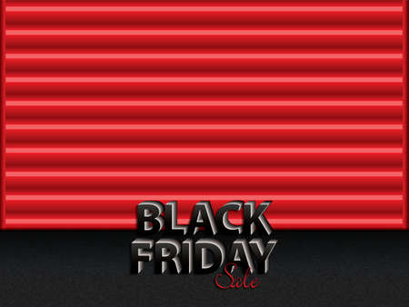 Black Friday text on red storage door.Black friday sale layout background, vector illustration