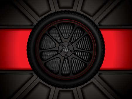 Racewagenwiel op rode achtergrond, vectorillustratie