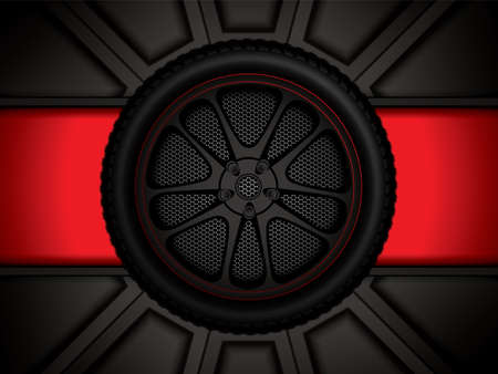 Racing car wheel  on red background, vector illustration Illustration