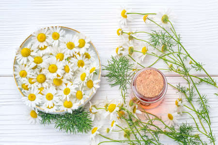 Essential oil in glass bottle with fresh chamomile flowers, top view. Alternative medicine concept on a white wooden table (selective focus).