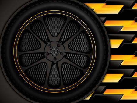 Racing car wheel on black and yellow background, vector illustration