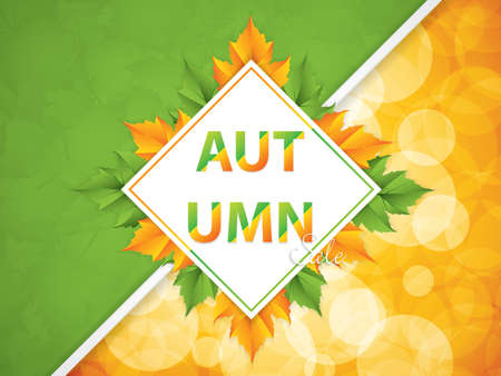 Autumnal sale background, vector illustration